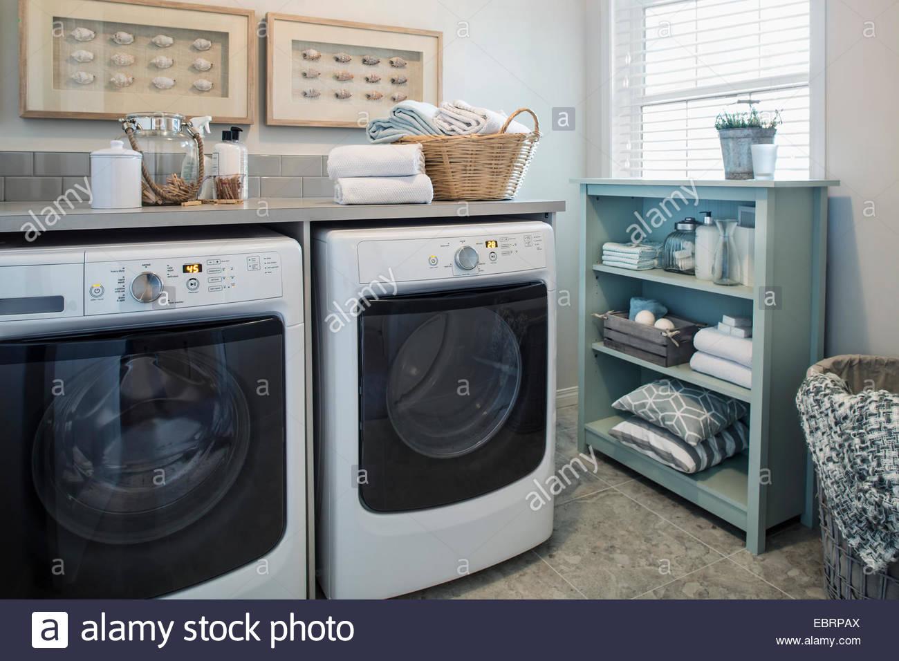 Tidy laundry room - Stock Image