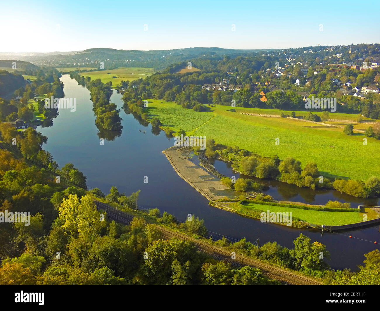 aerial view from Hohenstein to Ruhr valley, Germany, North Rhine-Westphalia, Ruhr Area, Witten Stock Photo