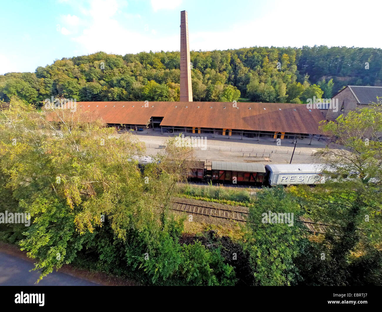 aerial view to closed coal mine Nachtigall, Germany, North Rhine-Westphalia, Ruhr Area, Witten - Stock Image