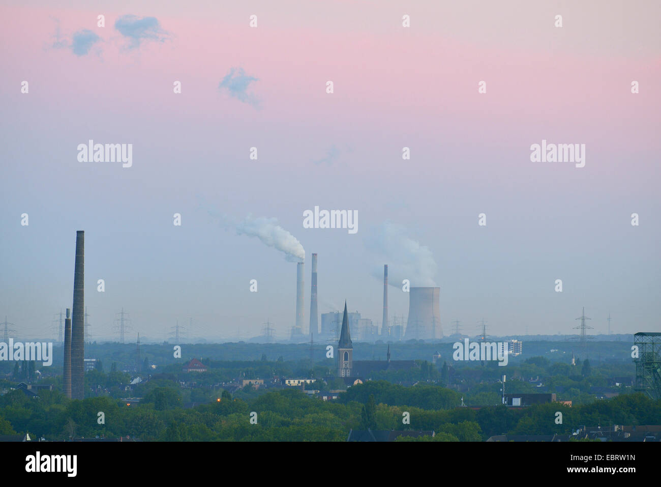 view at Steel Mill in the morning, Germany, North Rhine-Westphalia, Ruhr Area, Duisburg - Stock Image