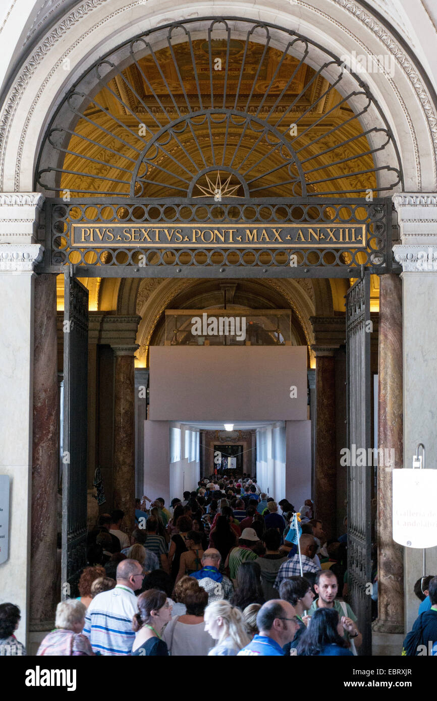 Vatican City: Crowds of visitors at the Vatican Museums. Photo from 4th September 2014. Stock Photo