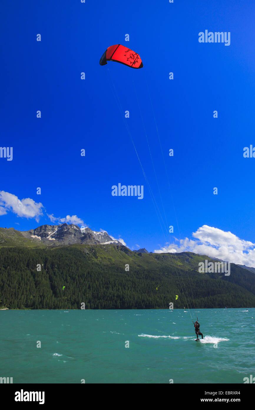 kitesurfers on Lake Silvaplana at the Piz Corvatsch, Switzerland, Grisons, Engadine Stock Photo