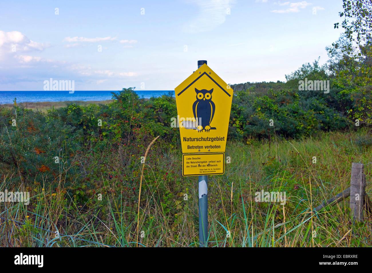 nature reserve sign at Weisse Wiek, Germany, Mecklenburg-Western Pomerania, Boltenhagen Tarnewitz - Stock Image