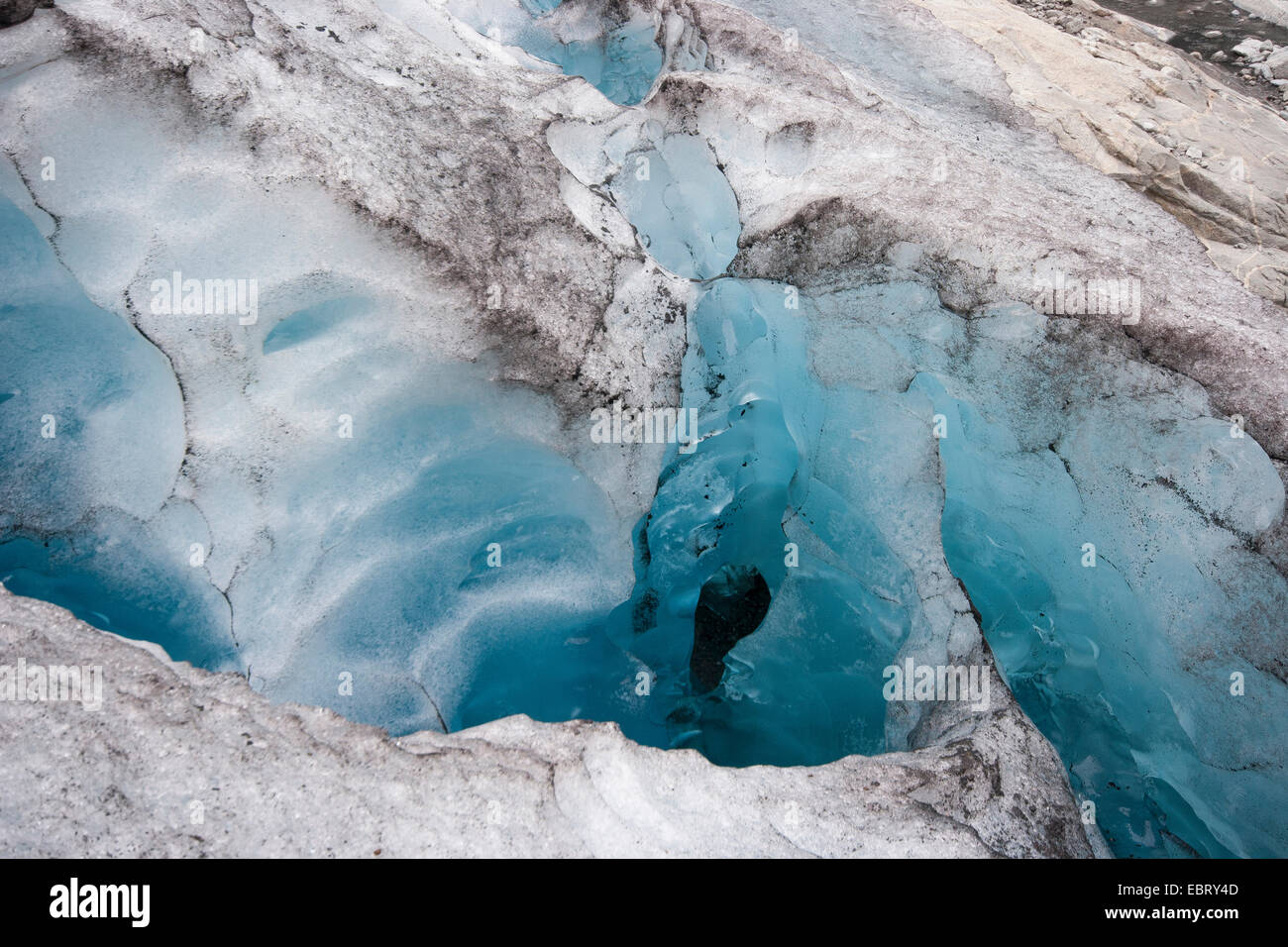 crevasse at Nigardsbreen glacier, Norway, Jostedalsbreen National Park - Stock Image