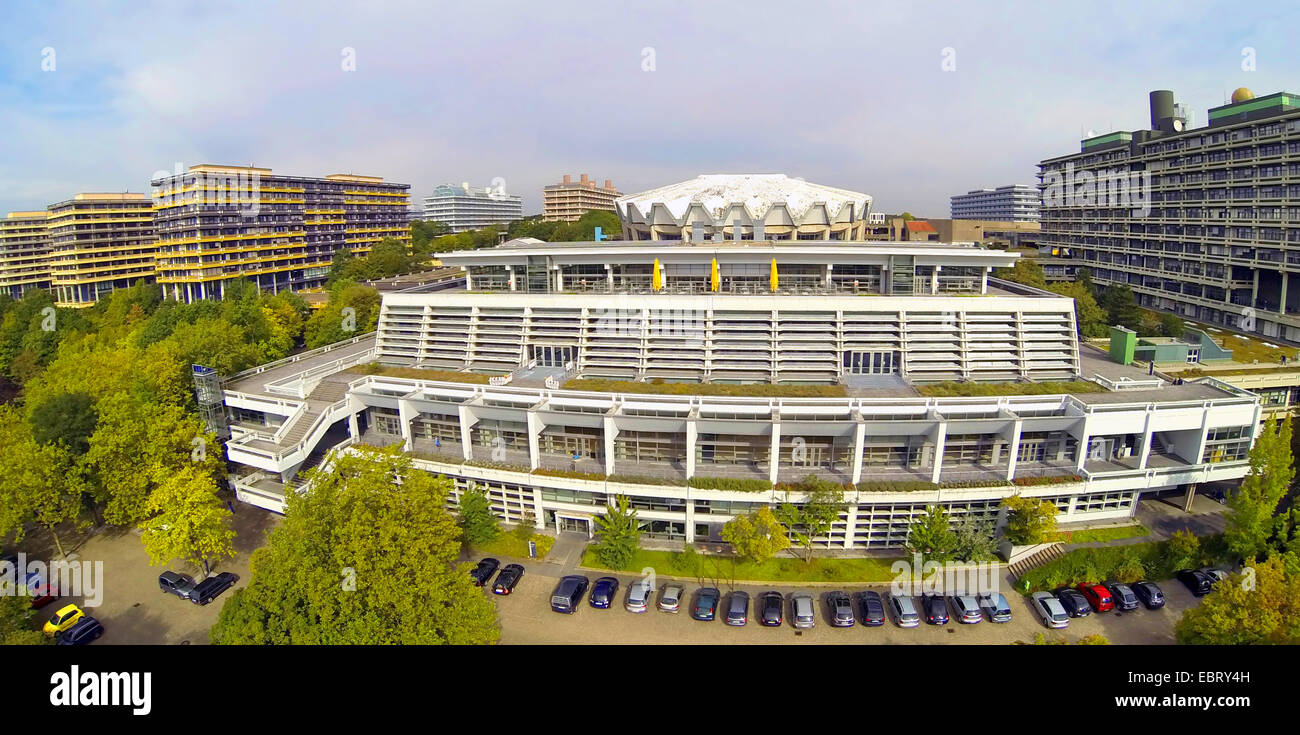 aerial view to Ruhr-Universitaet Bochum with refectory and Audimax, Germany, North Rhine-Westphalia, Ruhr Area, Stock Photo
