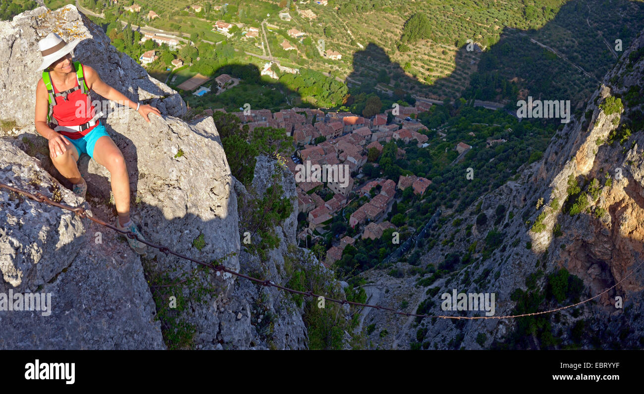 On top of Moustiers sainte Marie village with the chain and the star, France, Provence, Alpes-de-Haute-Provence, Stock Photo