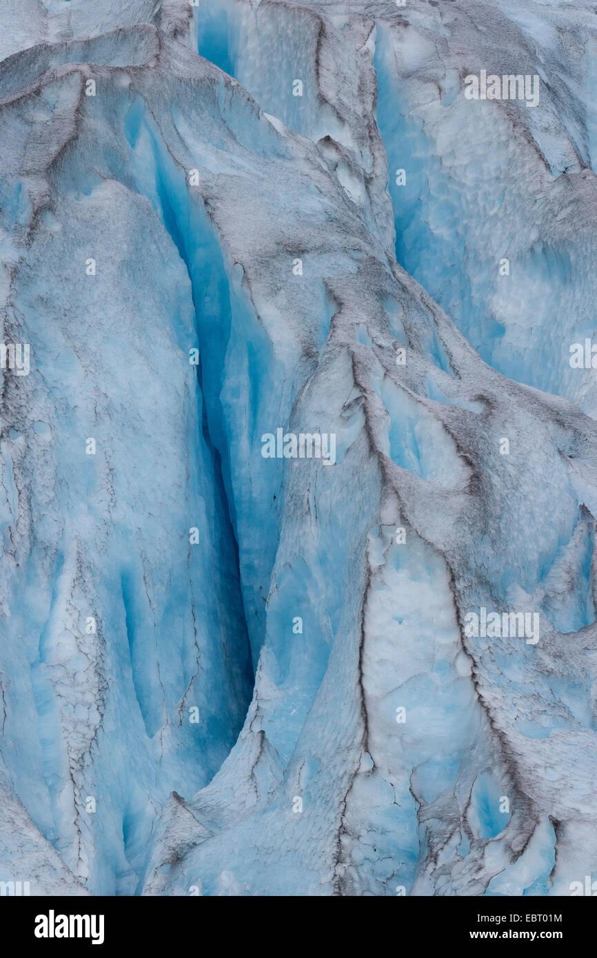 Nigardsbreen glacier with crevasse, Norway, Jostedalsbreen National Park - Stock Image