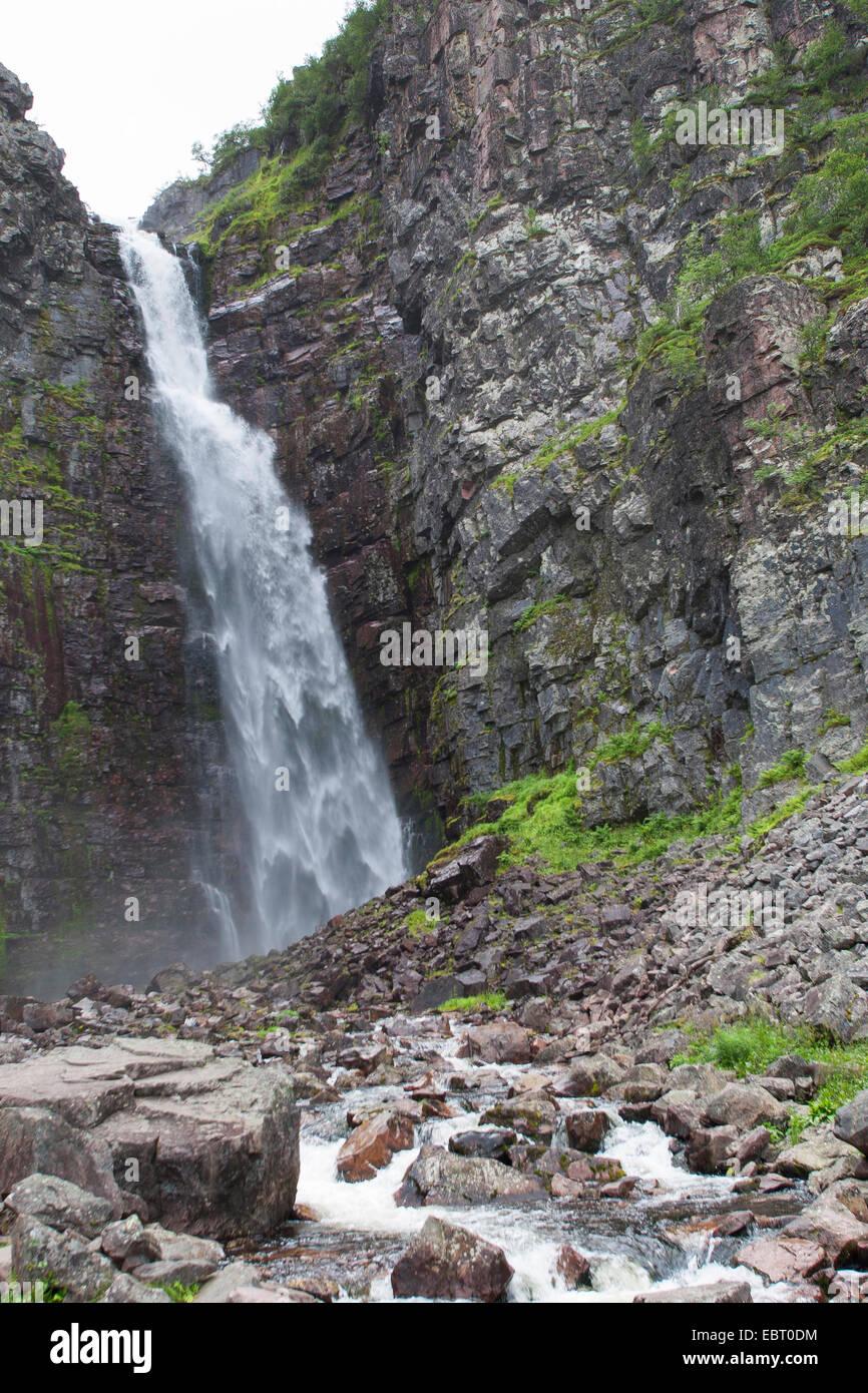 waterfall Njupesaer, Sweden, Fulufjaellet National Park - Stock Image