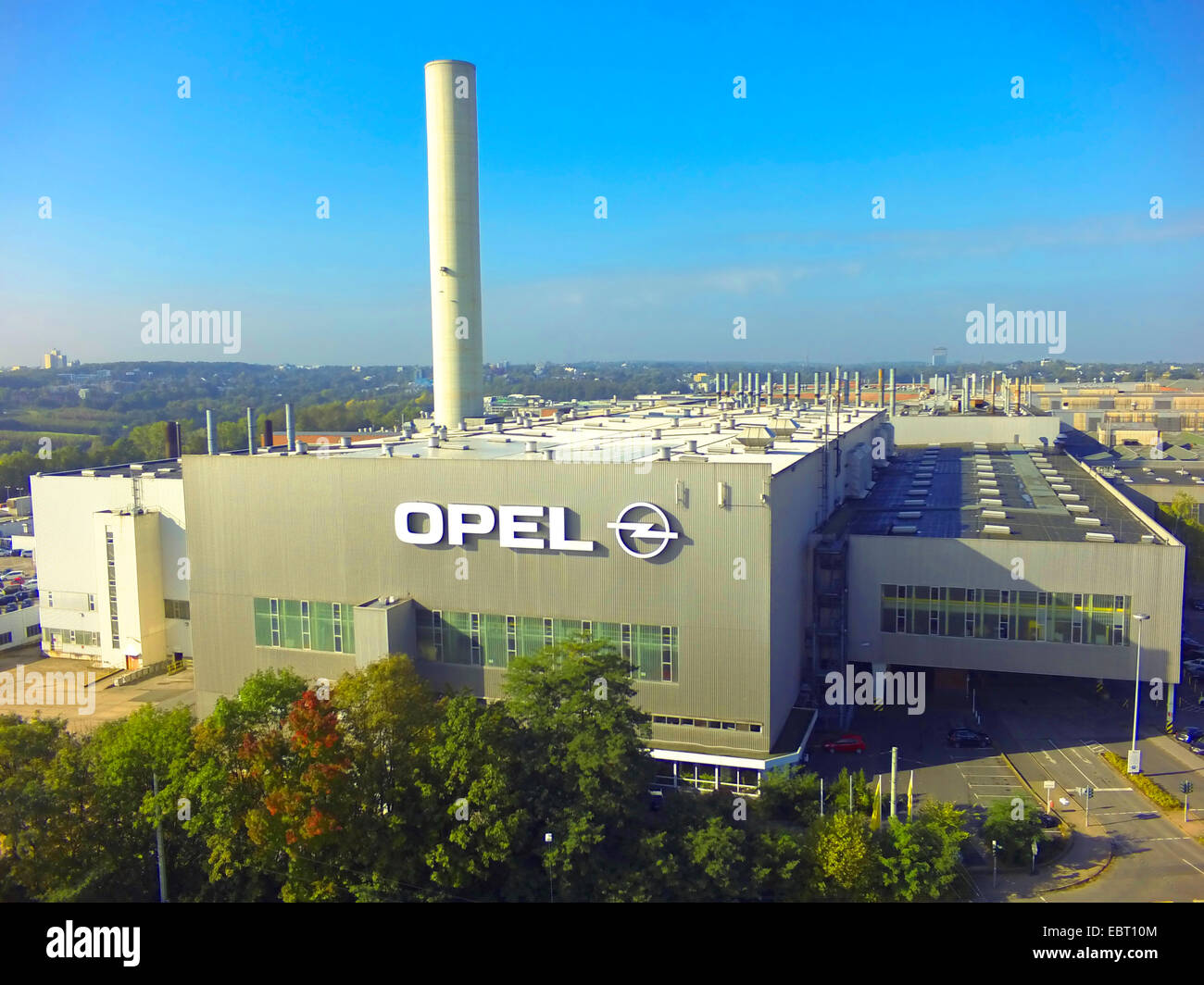 aerial view of Opel's manufacturing plant in Bochum, Germany, North Rhine-Westphalia, Ruhr Area, Bochum - Stock Image