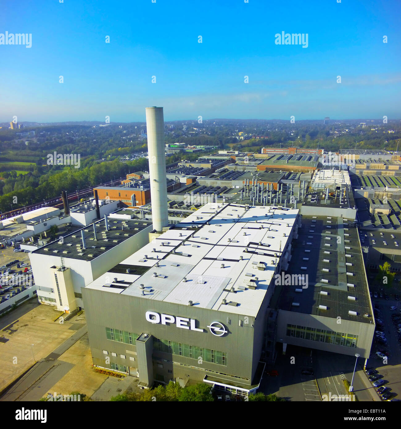 aerial view of Opel's manufacturing plant in Bochum, Germany, North Rhine-Westphalia, Ruhr Area, Bochum Stock Photo