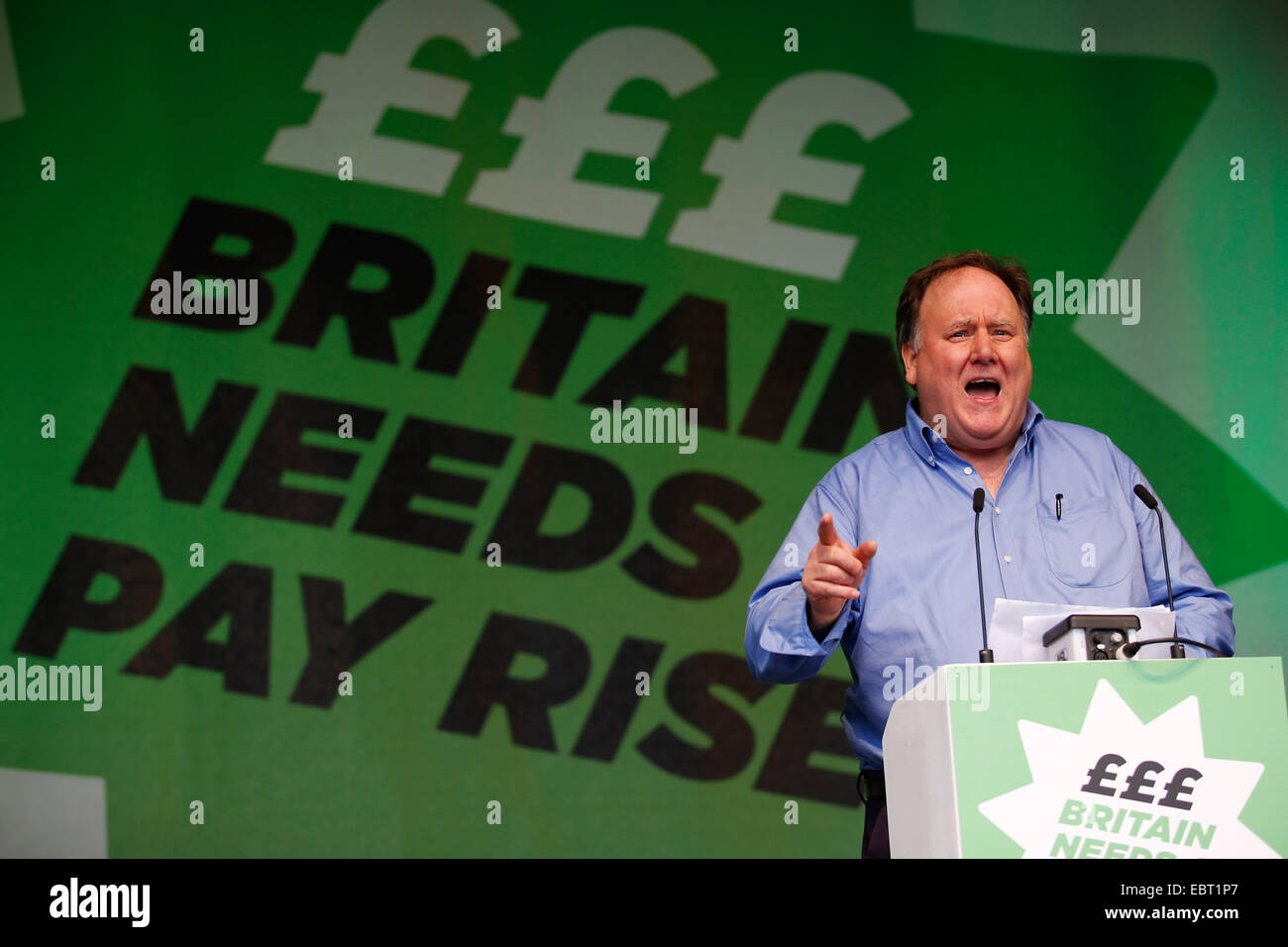 Billy Hayes, CWU, speaks at a protest gathering against falling real wages in London on October 18, 2014 - Stock Image