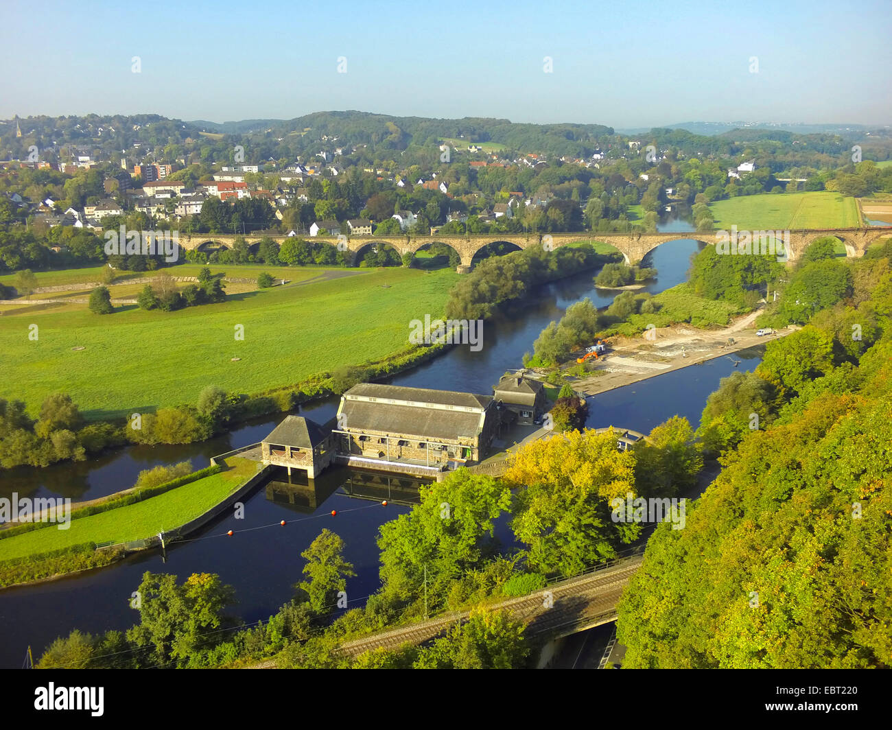 aerial view from Hohenstein to Ruhr valley with hydropower station Hohenstein, Germany, North Rhine-Westphalia, - Stock Image