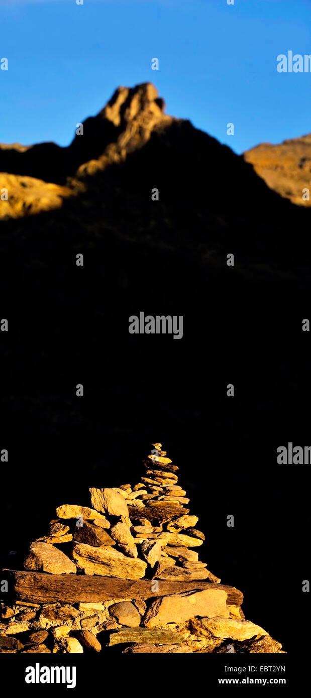 stone pile in the Valley of Marvels, France, Alpes Maritimes, Mercantour National Park, Belvedere saint Marin de Stock Photo