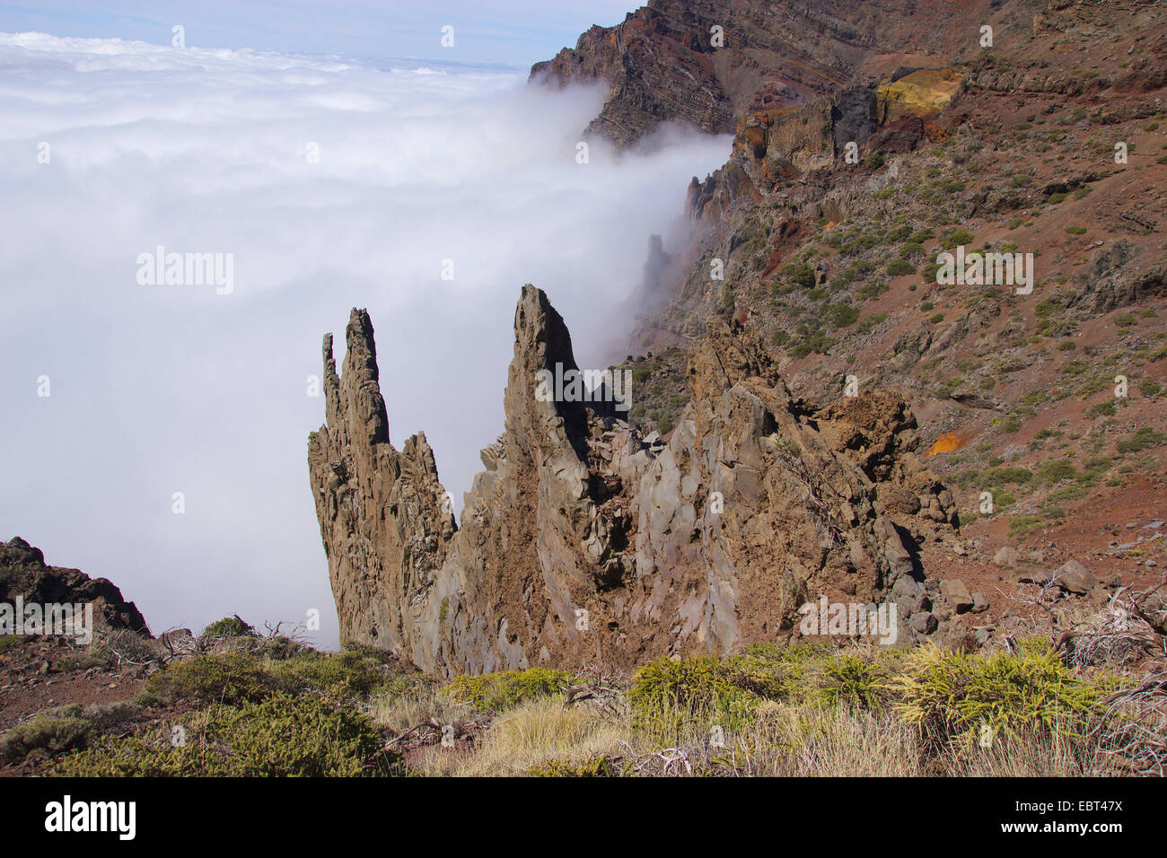 eroded magma conduit, Canary Islands, La Palma, Caldera de Taburiente - Stock Image