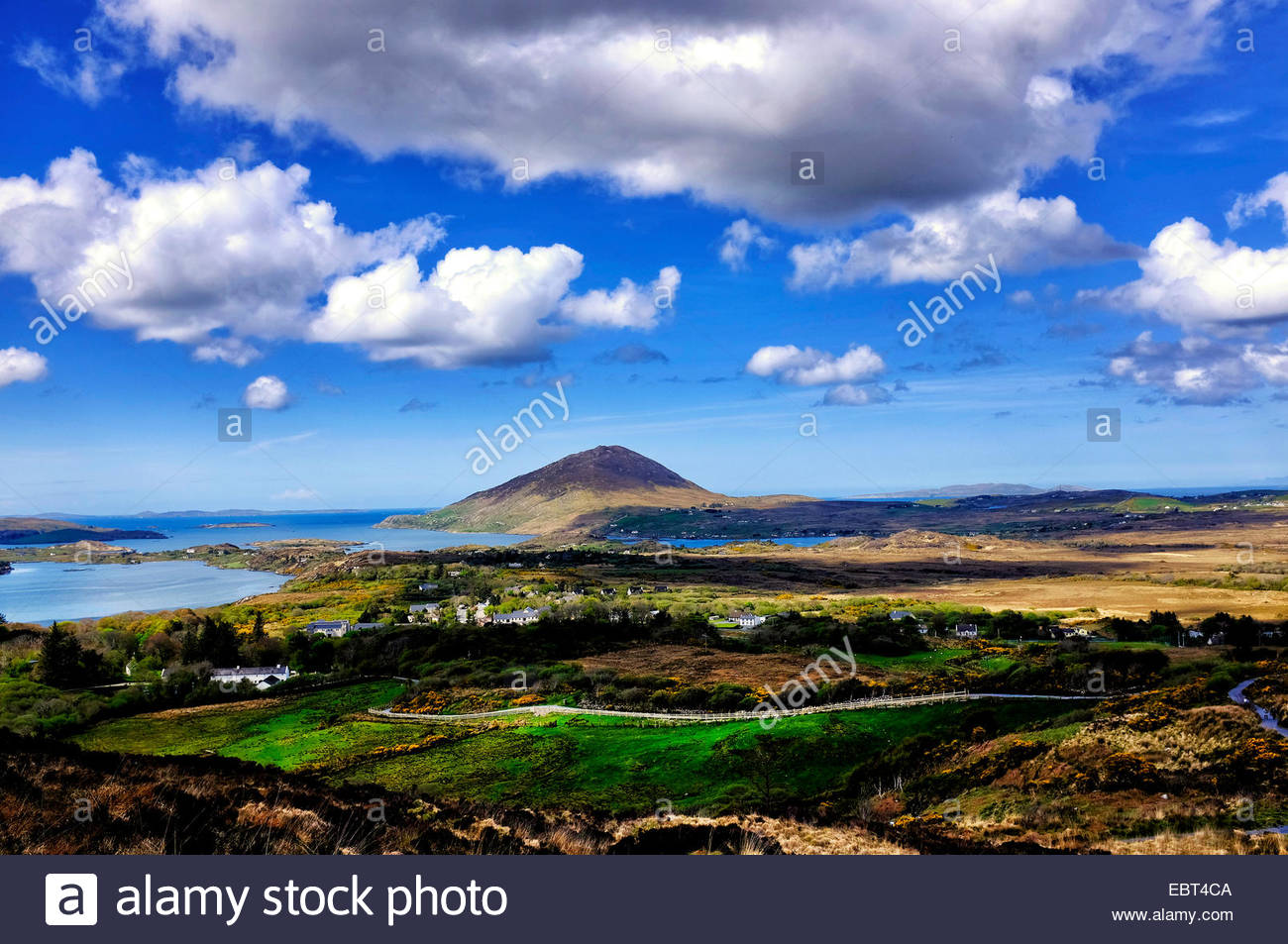 View of Tully mountain from the Connemara National Park, County Galway, Ireland - Stock Image