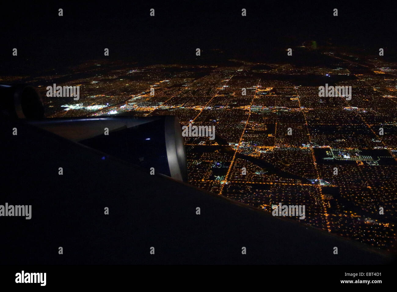 view from airplane to the city of Phoenix at night, USA, Arizona, Phoenix - Stock Image