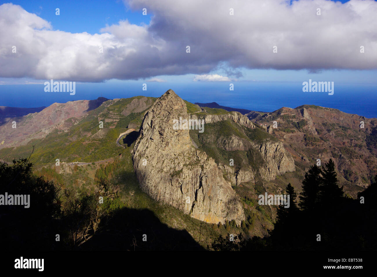 Roque de Agando, phonolite intrusion, Canary Islands, Gomera - Stock Image