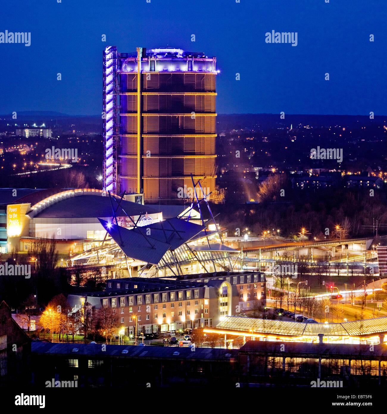 Neue Mitte Oberhausen, CentrO and Gasometer in evening light, Germany, North Rhine-Westphalia, Ruhr Area, Oberhausen Stock Photo