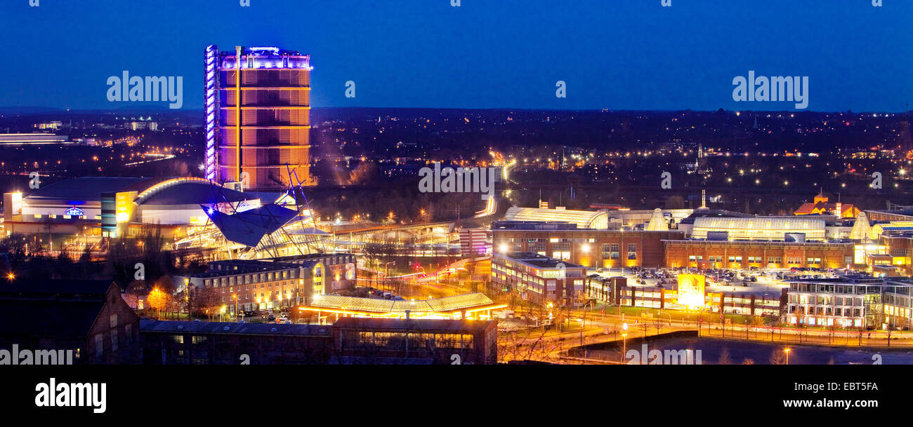 Neue Mitte Oberhausen, CentrO and Gasometer in evening light, Germany, North Rhine-Westphalia, Ruhr Area, Oberhausen Stock Photo