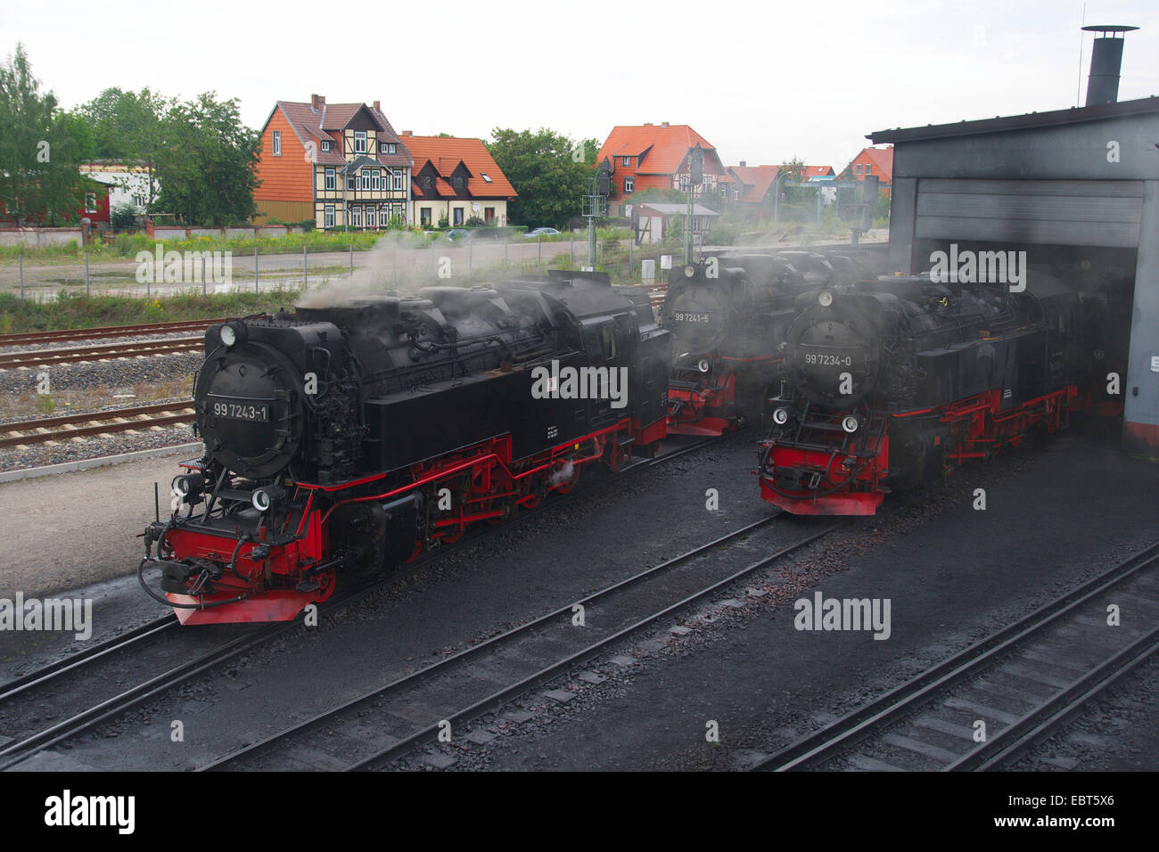 steam locomotives of Harz Narrow Gauge Railways , Germany, Saxony-Anhalt, Wernigerode Stock Photo