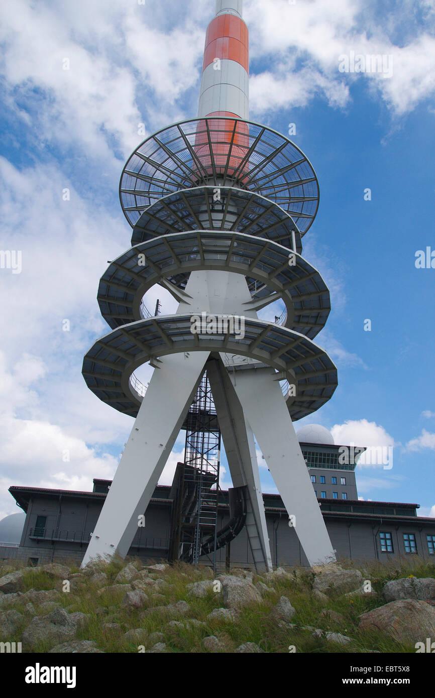 Brocken Transmitter, Germany, Saxony-Anhalt, Harz - Stock Image