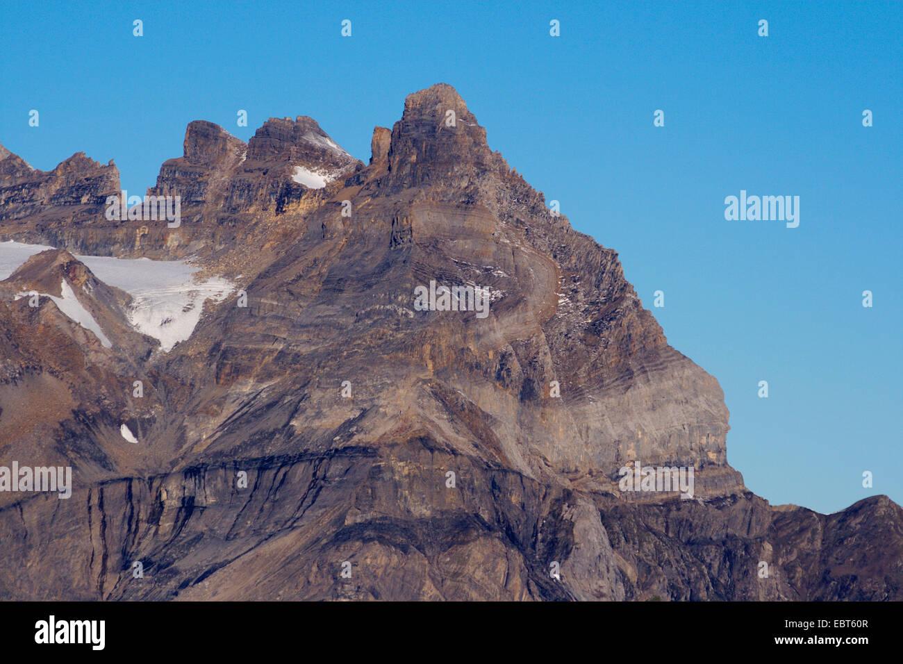 summits Cime de l'Est, Dents du Midi and Morcles folding, Switzerland, Valais - Stock Image