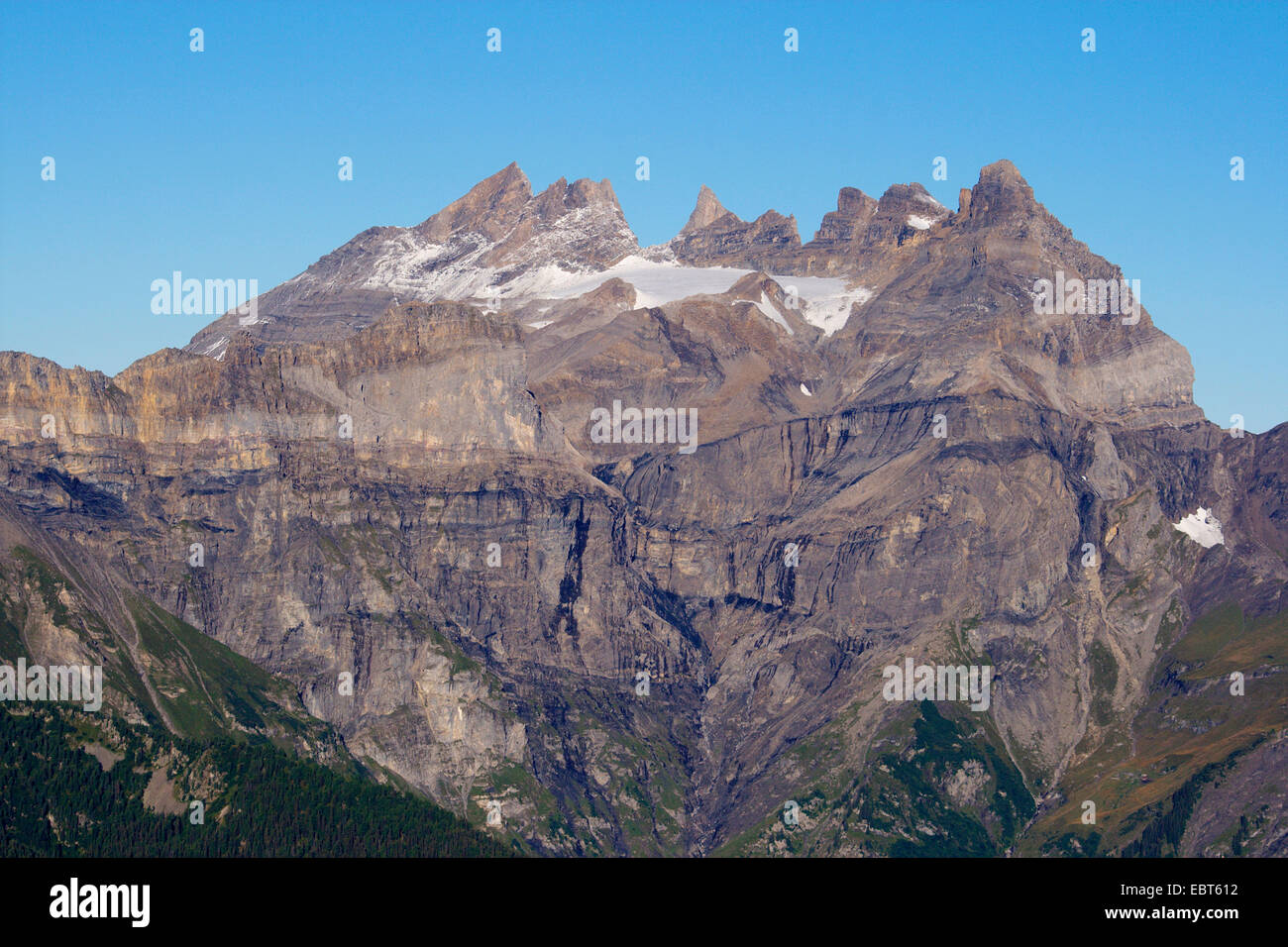 summit Dents du Midi and Morcles folding, Switzerland, Valais - Stock Image