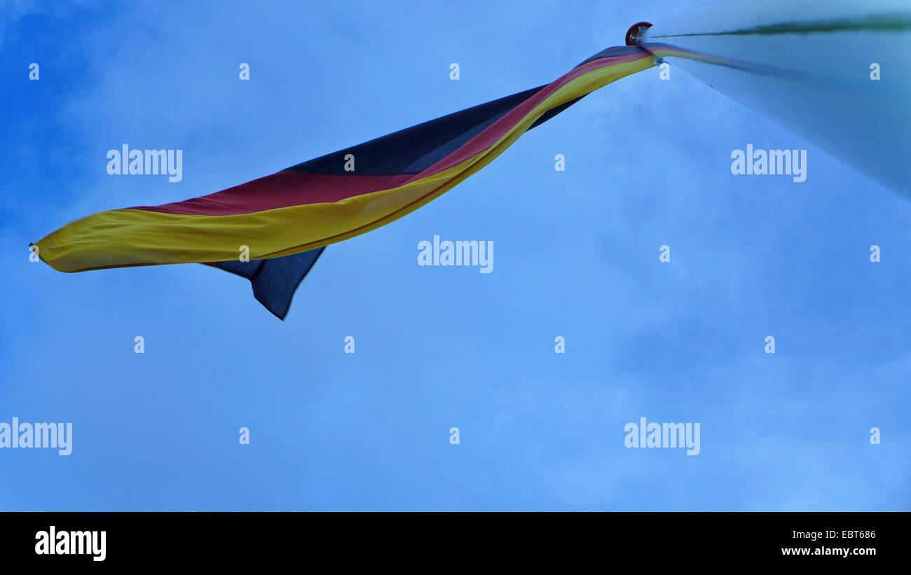 german flag blowing in the wind, Germany - Stock Image