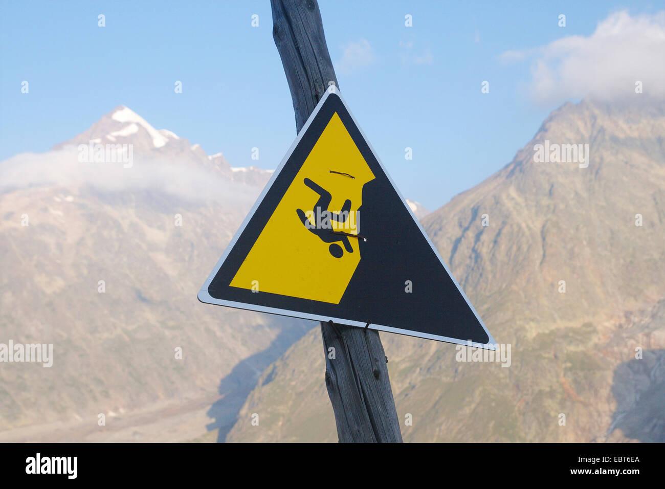 warnig sign in Val Veny, Italy - Stock Image