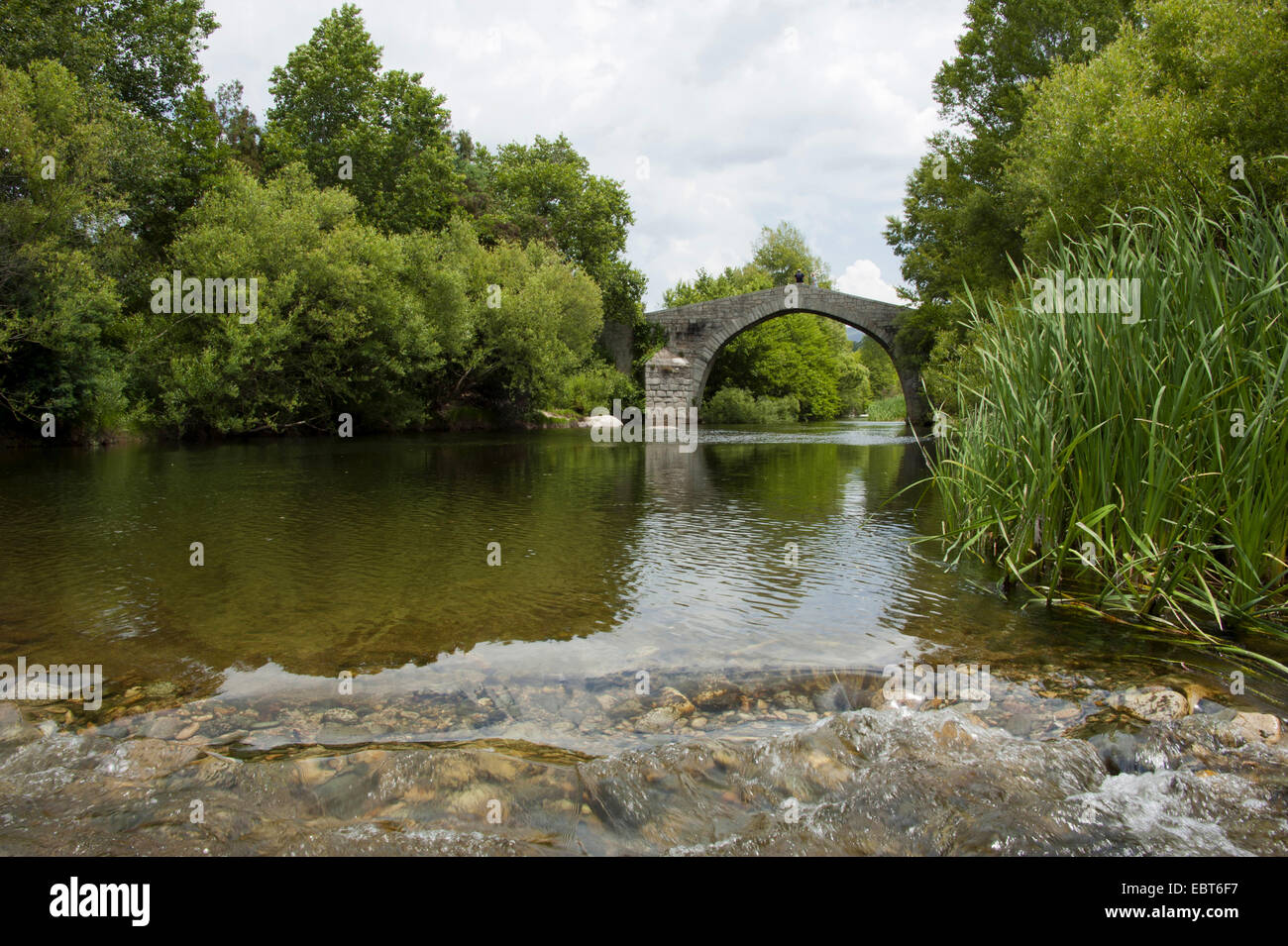 Genoese bridge, Spin a Cavallu, France, Corsica - Stock Image