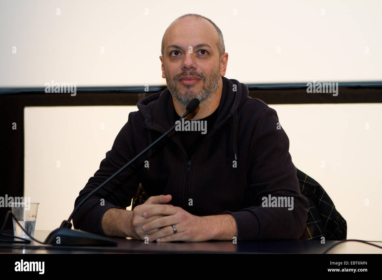 Italian journalist Diego Bianchi (known as Zoro) during a lecture at Torino Film Festival. - Stock Image