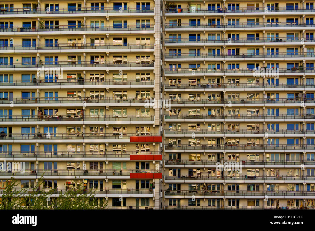 fassade of one of the eight residental towers of the 'Komplex Leipziger Strasse', Germany, Berlin - Stock Image