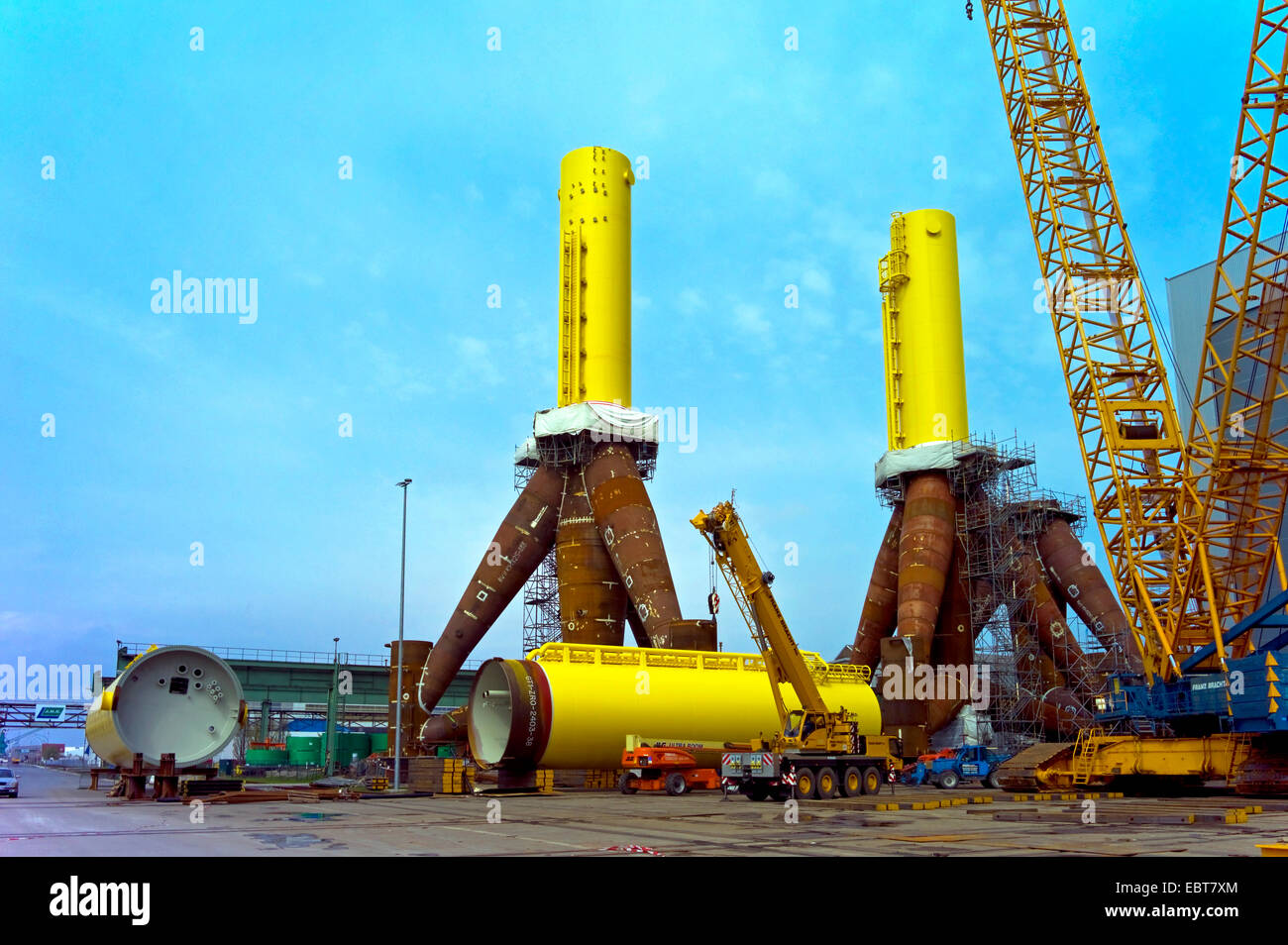tripods for offshore wind farms in harbour, Germany, Labradorhafen, Bremerhaven - Stock Image