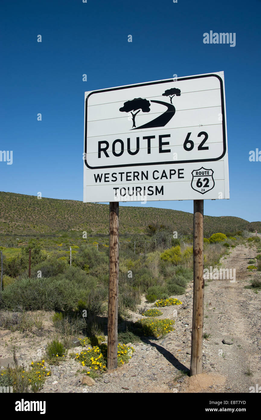 traffic sign waysides labeled 'Route 62', South Africa, Western Cape - Stock Image