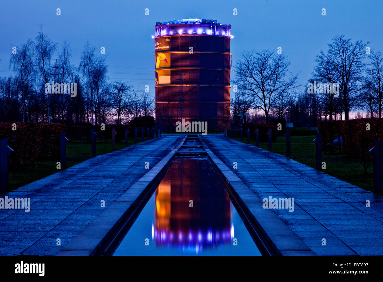 illuminated gasometer, view from Olga park, Germany, North Rhine-Westphalia, Ruhr Area, Oberhausen Stock Photo