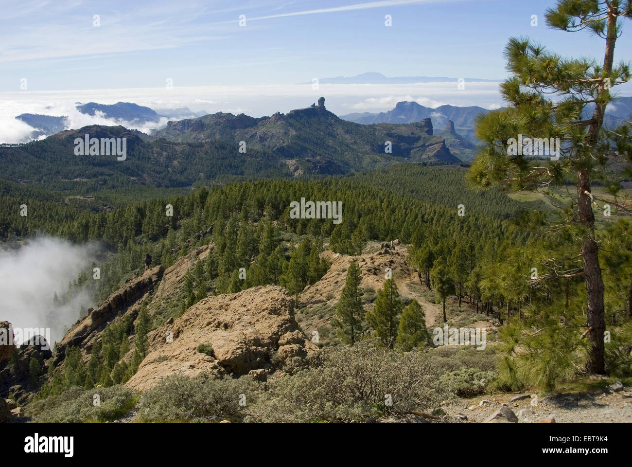 view from the Pico de las Nieves to the Roque Nublo und to Teneriffa, Canary Islands, Gran Canaria Stock Photo