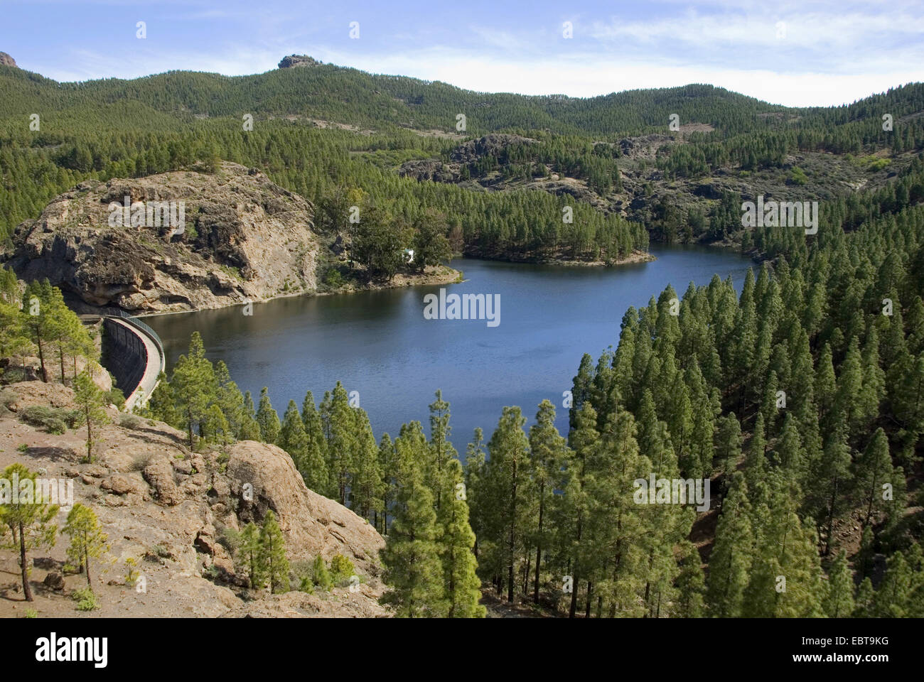 view from a mountain slope at a storage lake, Canary Islands, Gran Canaria, Presa de los Hornas Stock Photo