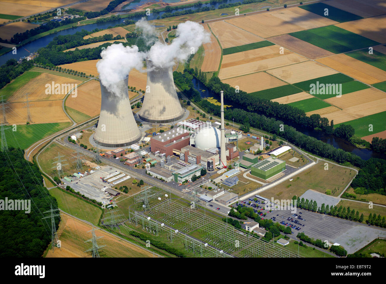 nuclear power station Grafenrheinfeld, Germany, Bavaria - Stock Image