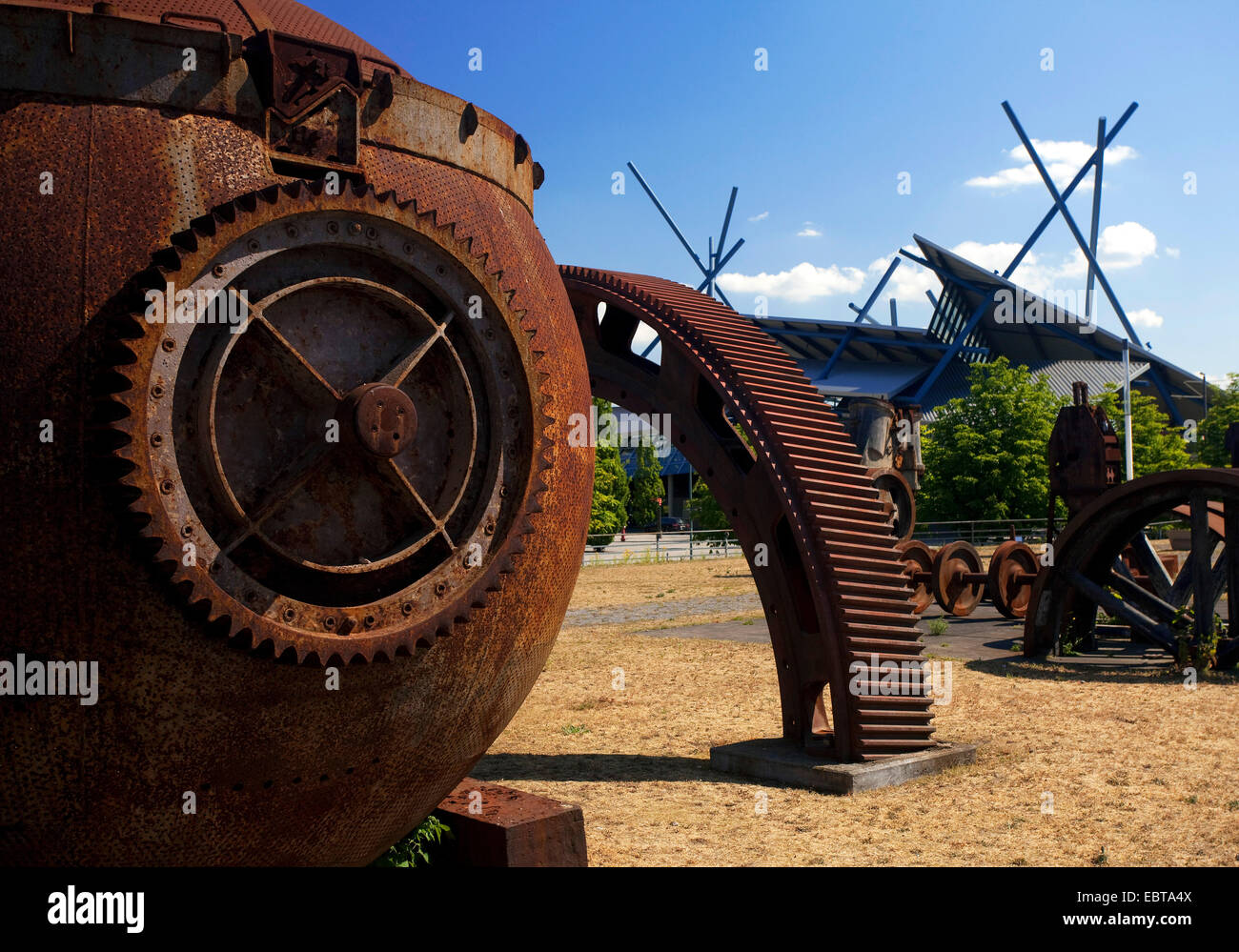 CentrO Oberhausen and rusty exhibits of industrial museum, Germany, North Rhine-Westphalia, Ruhr Area, Oberhausen Stock Photo