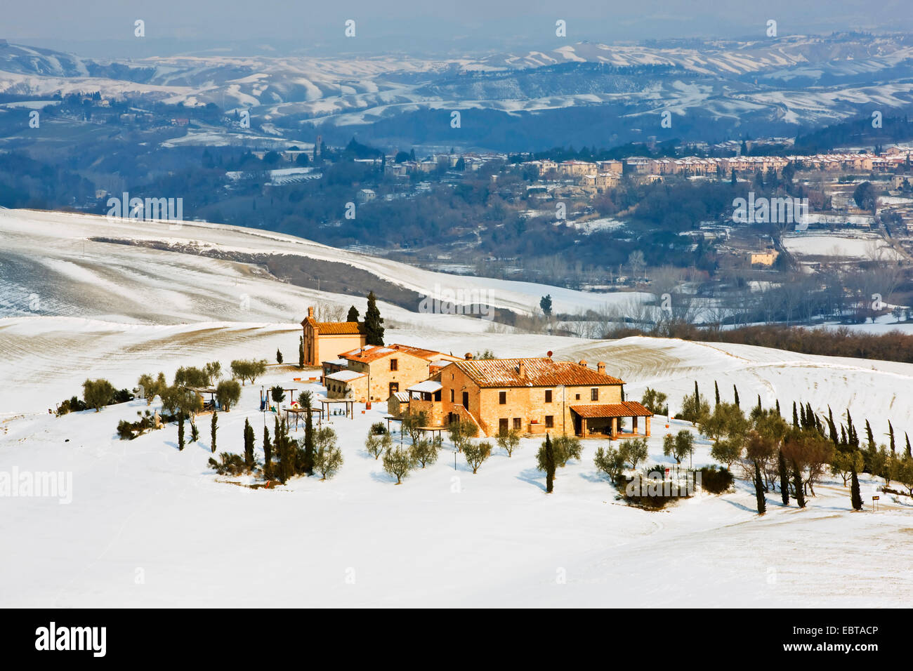 farmhouse in snow-covered landscape surrounded by cypresses, Italy, Tuscany, Pienza Stock Photo