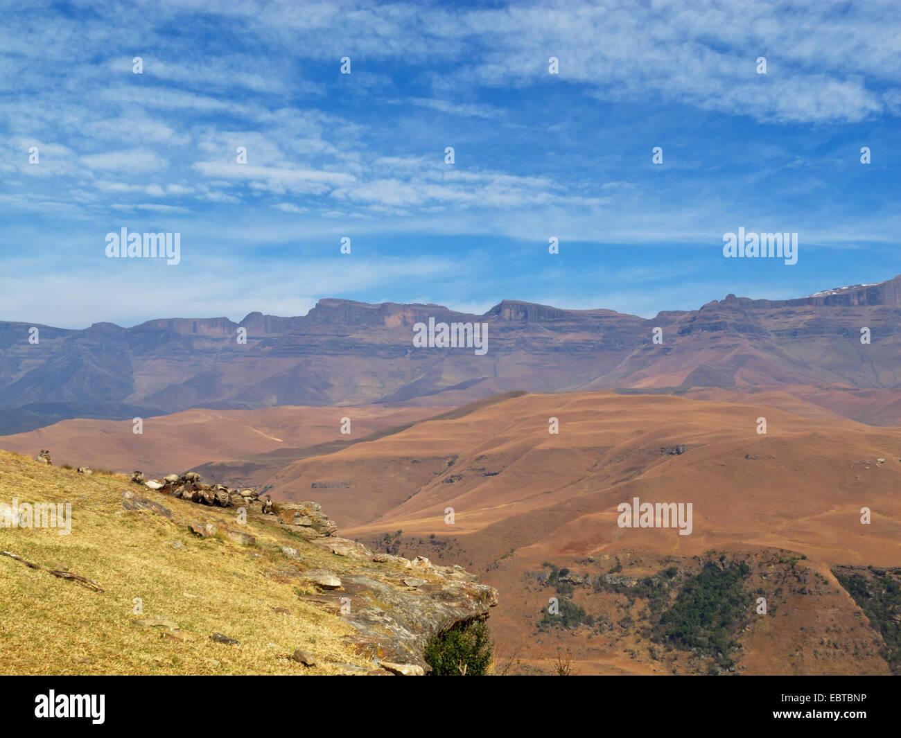 panorama at Giant's Castle mountains, South Africa, Kwazulu-Natal, Drakensberge Stock Photo