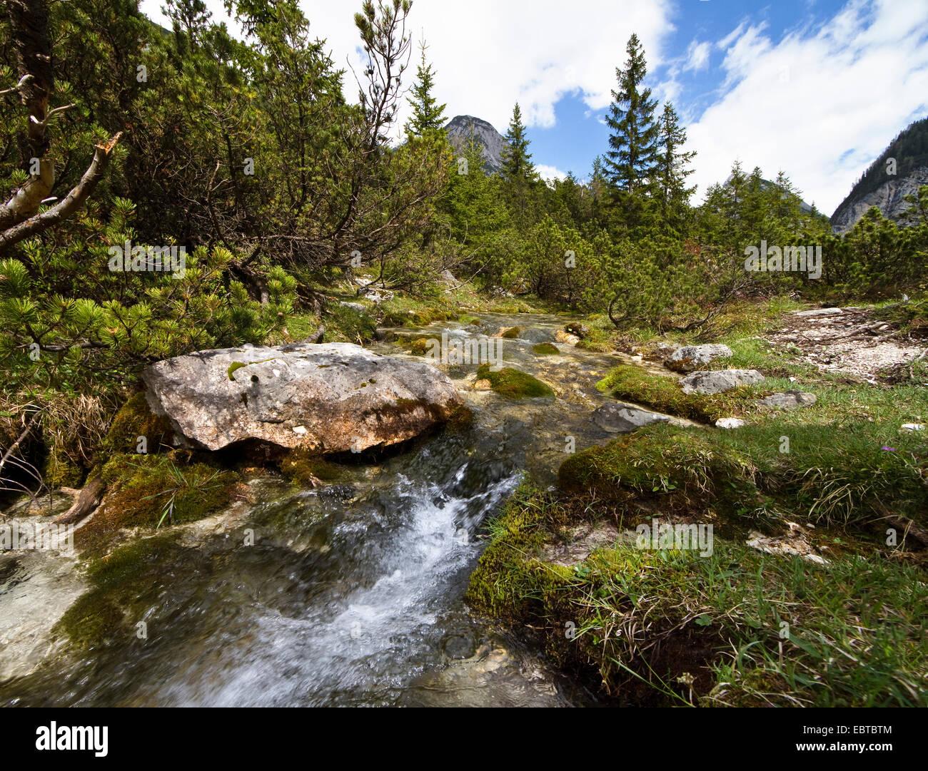 origin of Isar river, Austria, Tyrol, Karwendel Mountains, Hinterautal - Stock Image