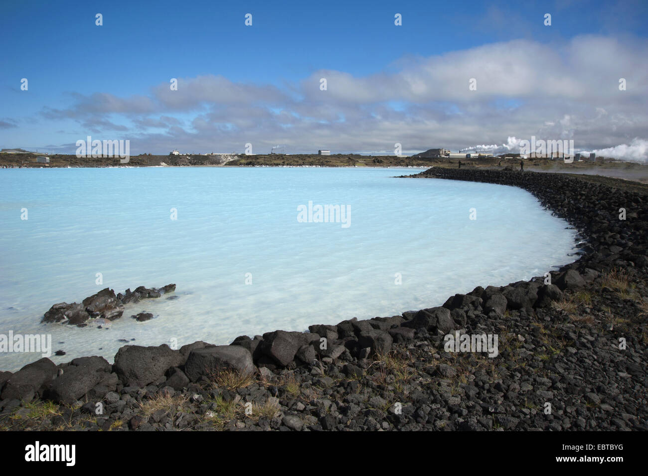 blue shimmering lake in the geothermal area near the volcano Gunnuhver, Iceland, Reykjanes Peninsula - Stock Image