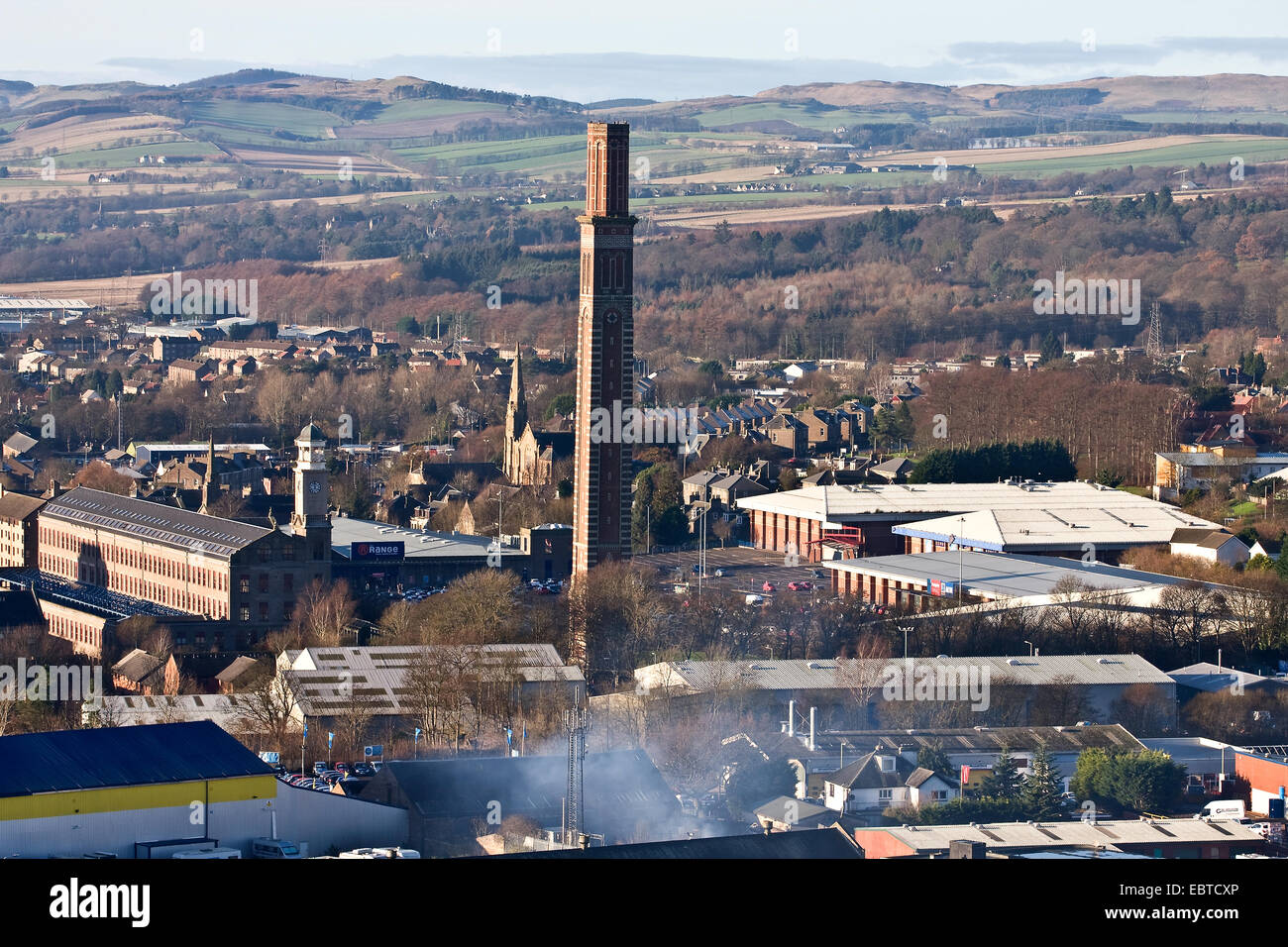 "Early Winter landscape view of Lochee ""The Stack"" retail leisure park and ""Cox`s Stack"" 1800`s Jute Mill in Dundee, Stock Photo"