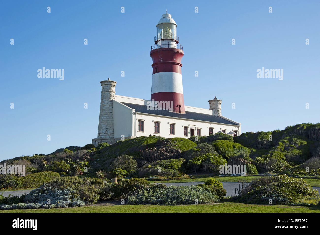 lighthouse at Cape Agulhas, the most southerly place in Africa, South Africa, Western Cape, Cape Agulhas National - Stock Image