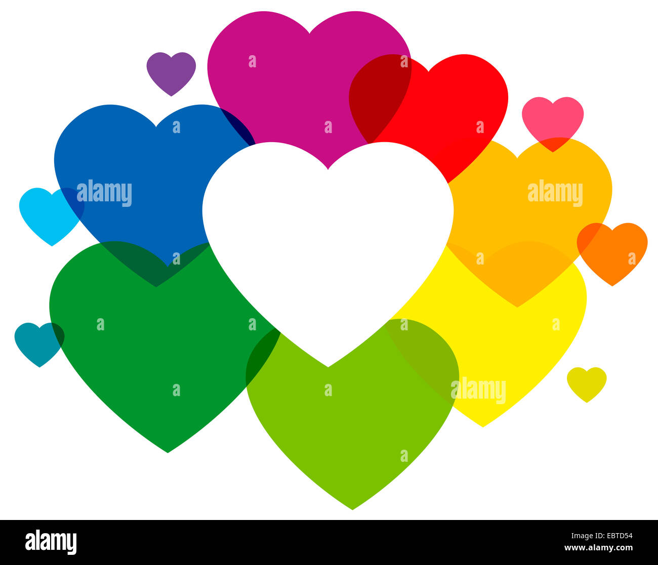Rainbow Colored Hearts Forming A Colorful Cloud And Frame To Write