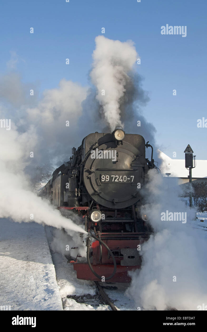 train of the Harzquerbahn in full steam; the narrow-gauge railwayconnects the cities Nordhausen (Thuringia) and - Stock Image