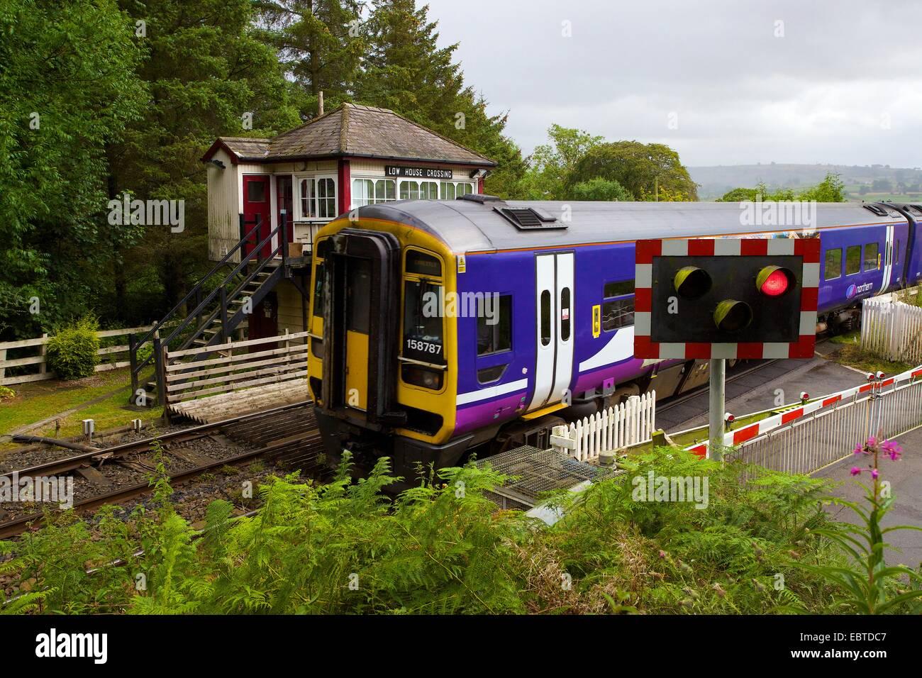Northern Rail Sprinter train on Low House Crossing, Armathwaite, Eden Valley, Settle to Carlisle Railway Line, Cumbria, - Stock Image