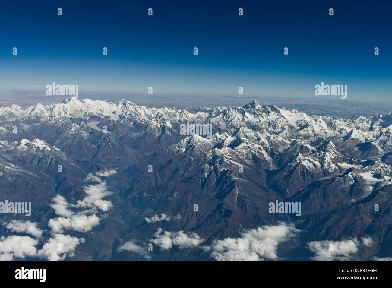 View of Mount Everest, from airplane, between Bhutan and India - Stock Image