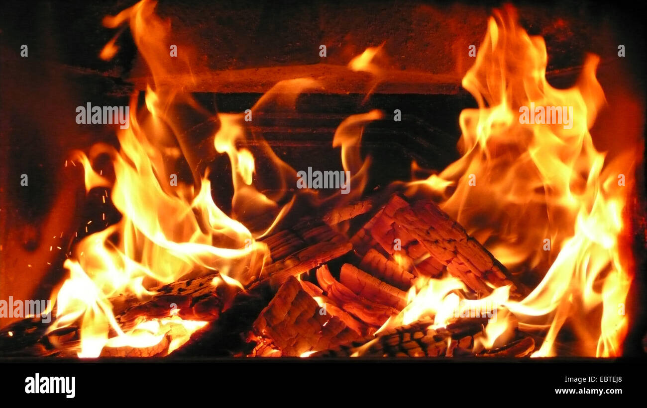 view into a fireside - Stock Image